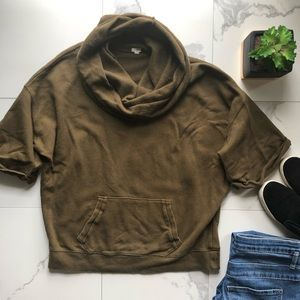 J. Crew Olive Green Oversized Cowl Neck Pullover